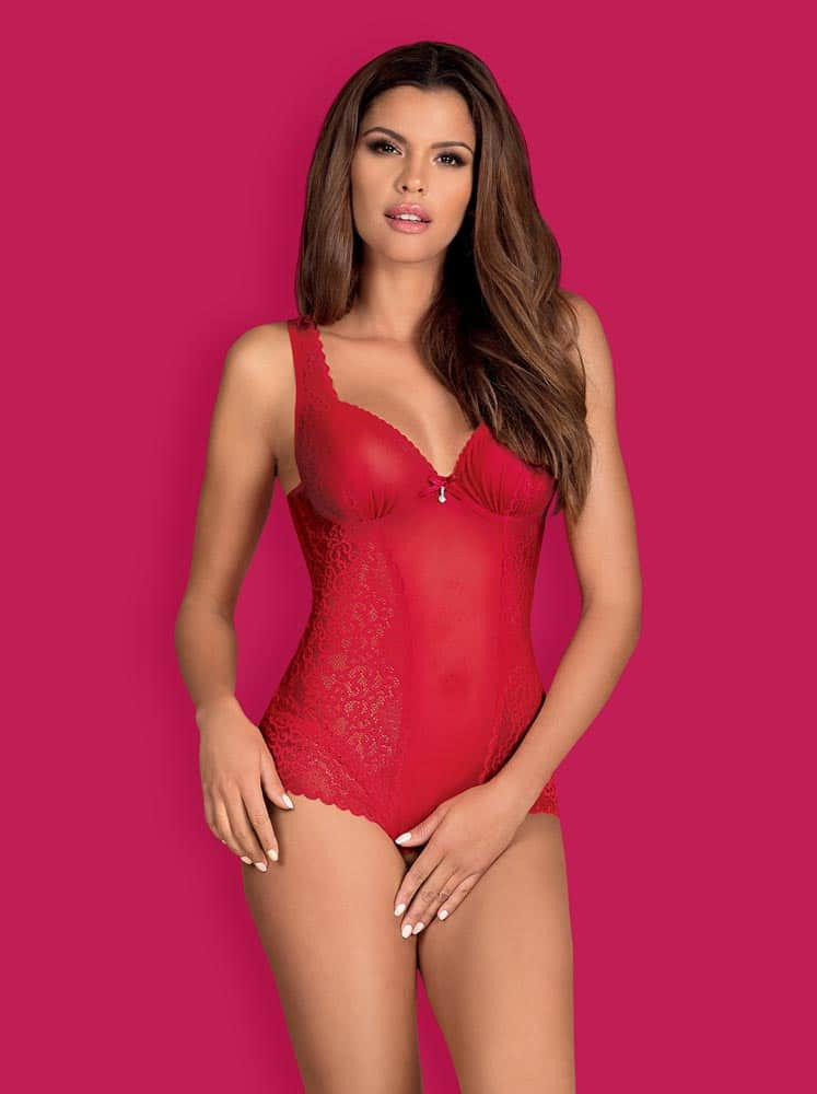 Rougebelle crotchless teddy red  S/M