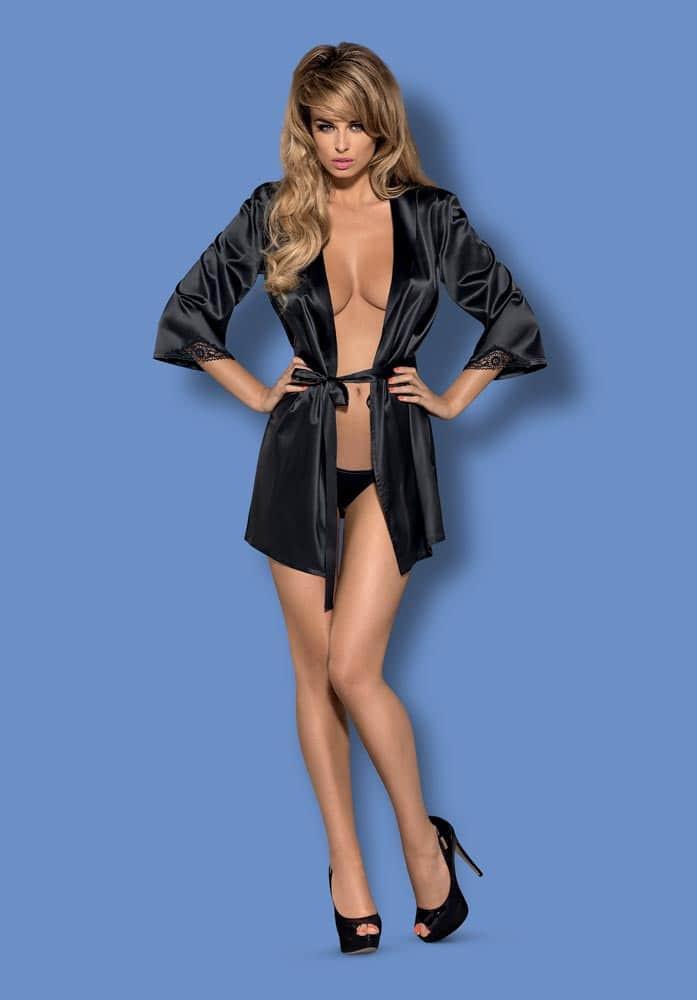 Satinia robe black  S/M