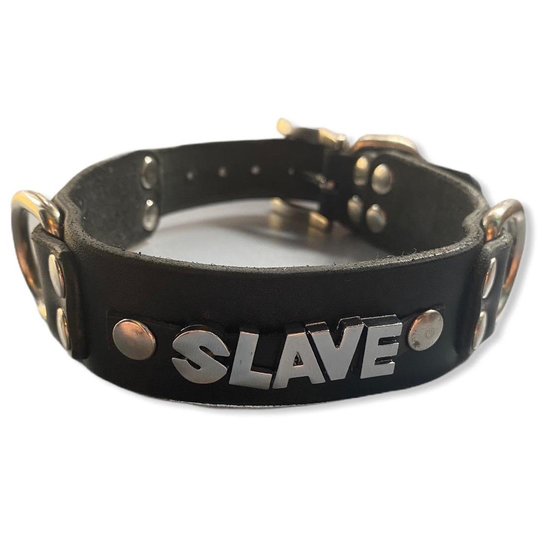 Нашийник от естествена кожа с надпис SLAVE – Collar Slave