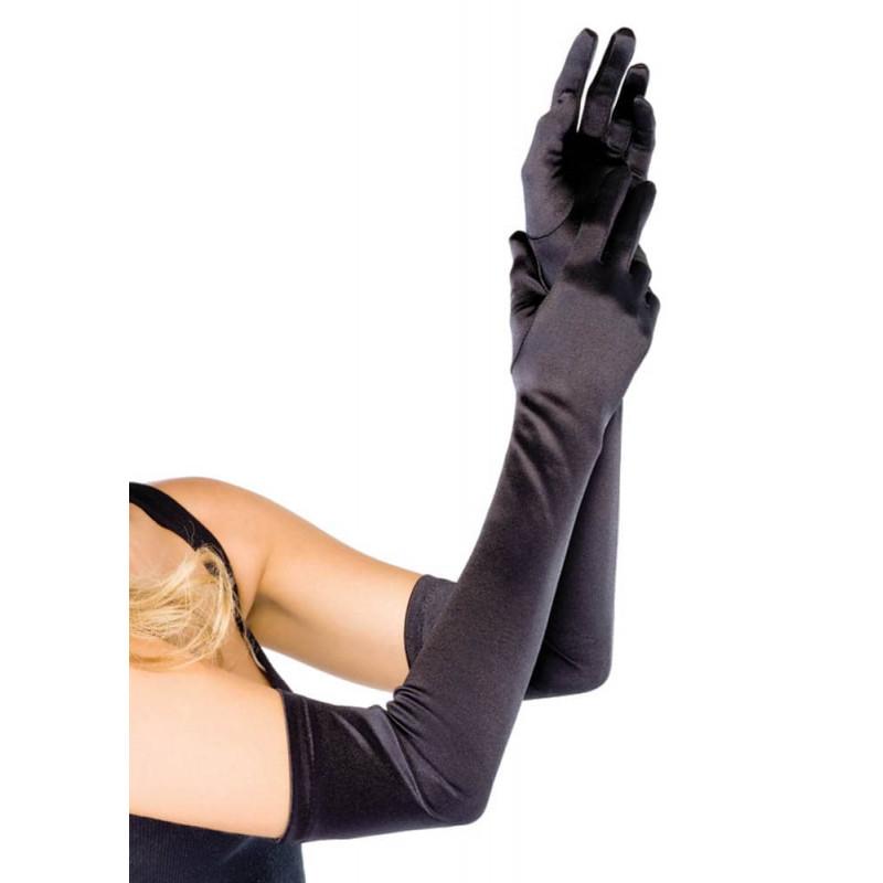Дълги сатенени ръкавици, черни – Extra Long Satin Gloves