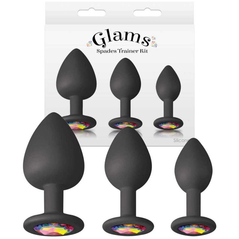 Комплект, анални разширители с кристали – Spades Trainer Kit Black