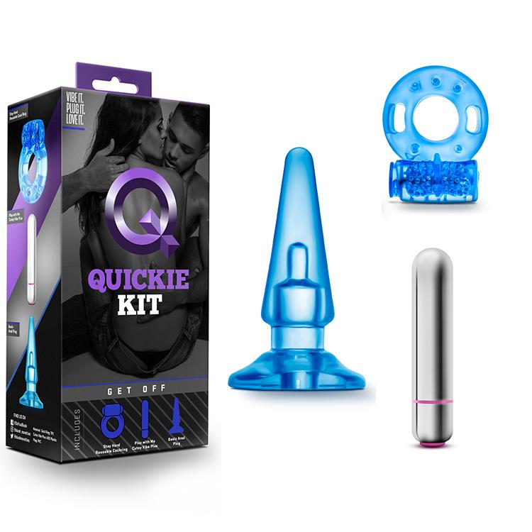 Комплект, пенис ринг, вибратор и разширител – Quickie Kit Get Off Blue