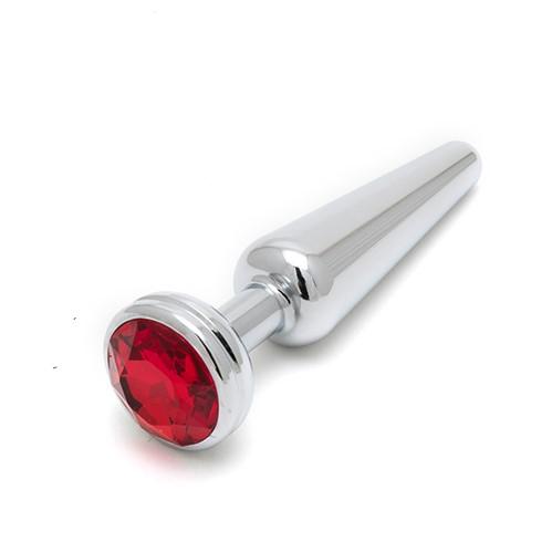 Алуминиев анален плъг със скъпоценен камък, 12см. – Crystal Plug Chrome