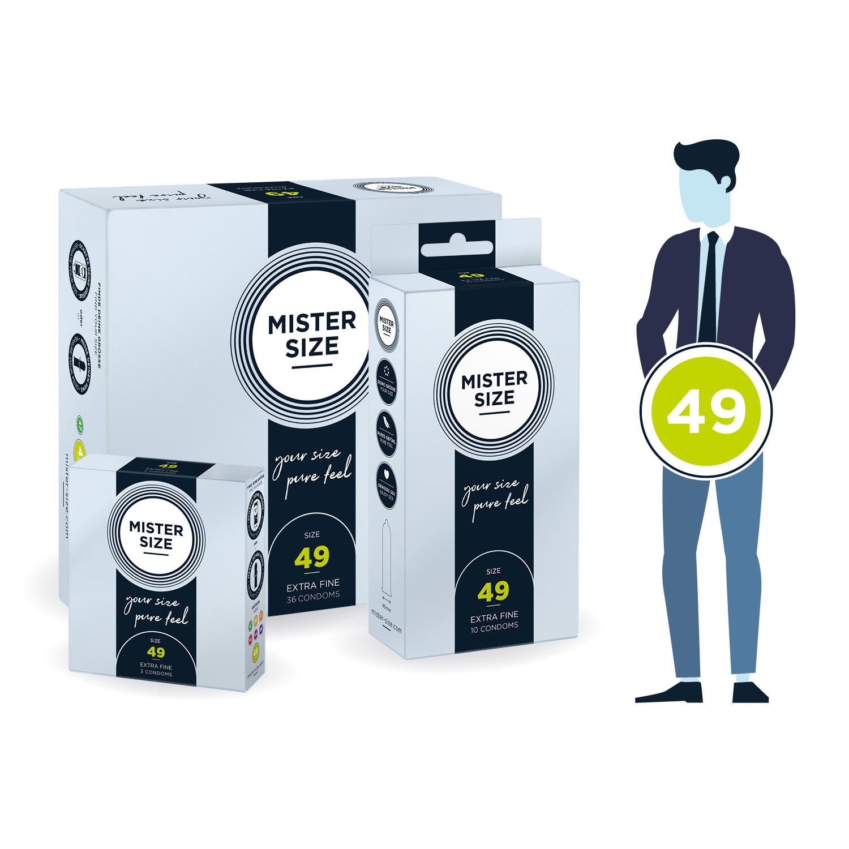 Кондоми с персонализиран размер, 3 броя – Mister Size 49mm