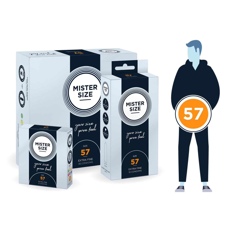 Кондоми с персонализиран размер, 3 броя – Mister Size 57mm