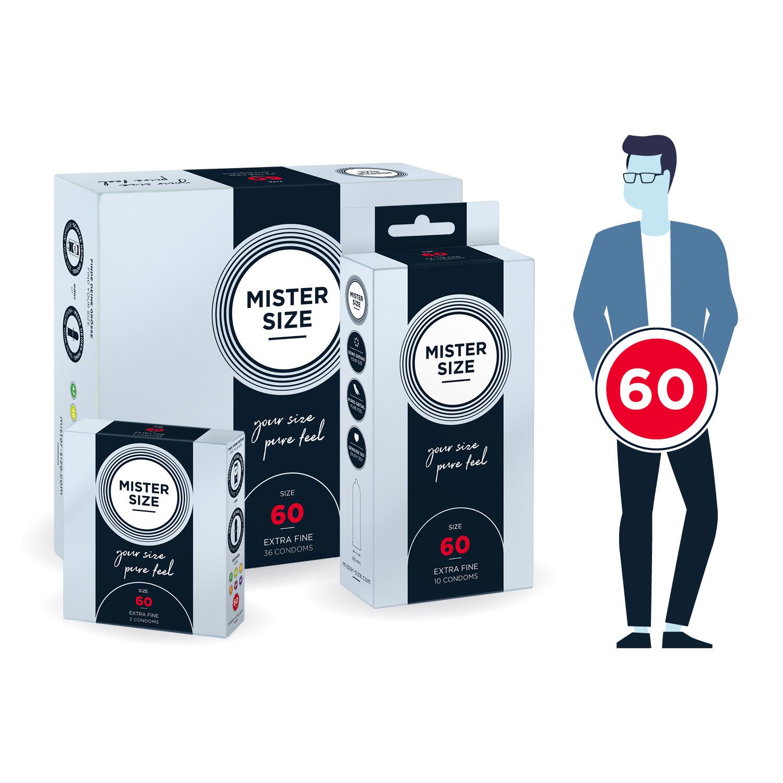 Кондоми с персонализиран размер, 10 броя – Mister Size 60mm