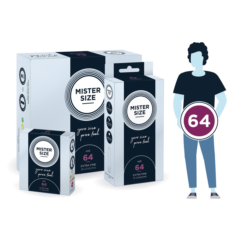 Кондоми с персонализиран размер, 3 броя – Mister Size 64mm